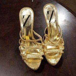 Sergio Zelcer  Gold wedge sandals size 6